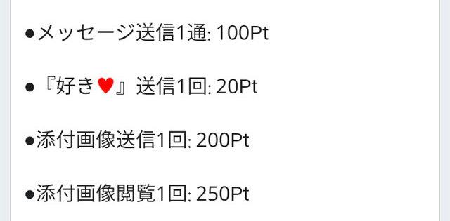 フィアンセアプリの料金(10Pt=14円)